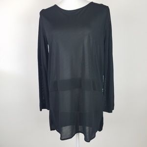 COS Sheer Mesh Black Long Sleeve Top Size Small